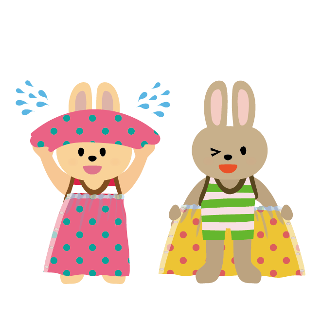 タオルで体を拭くウサギの子供こども水遊びプール海川