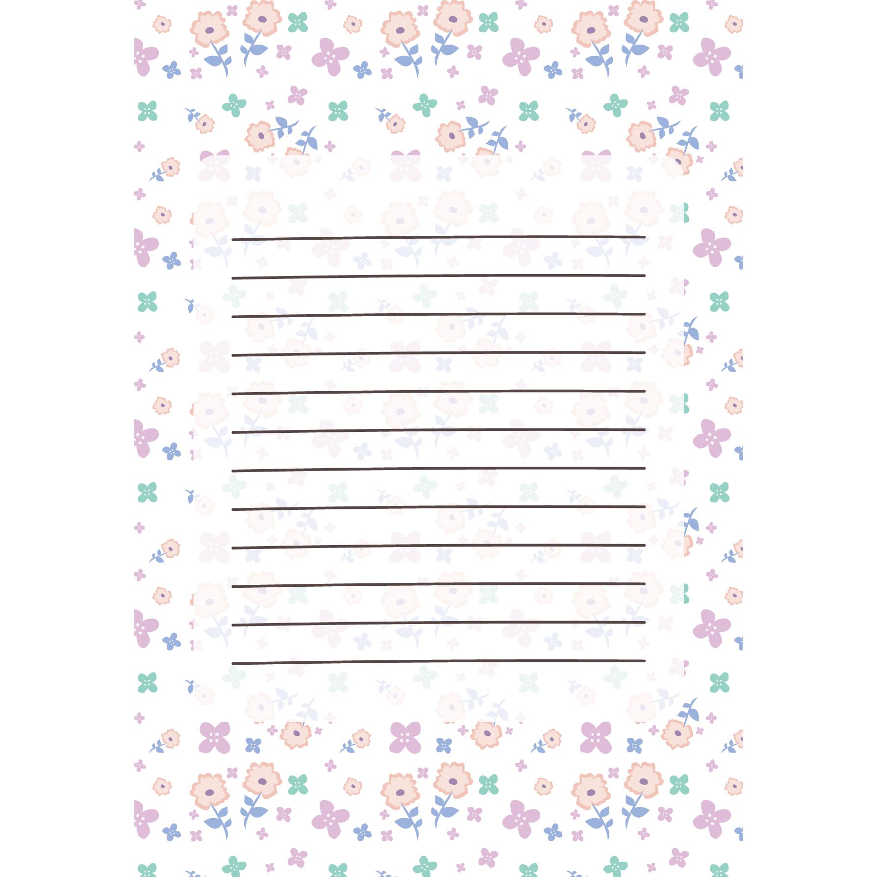 花柄のかわいい便箋パステルホワイトのテンプレート イラスト 商用
