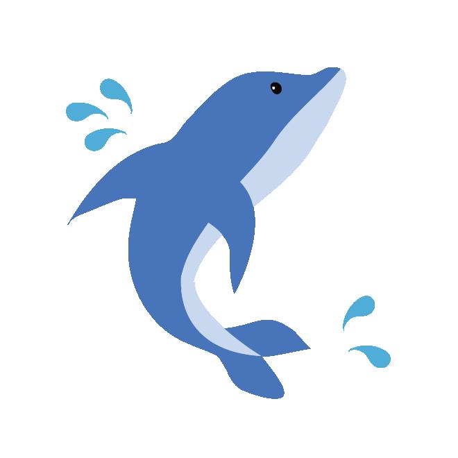 ジャンプ水しぶきをあげるかわいい イルカのイラスト 商用フリー