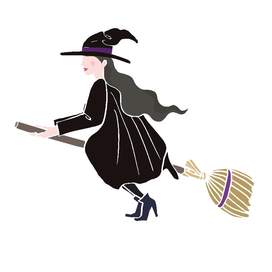 ハロウィンほうきに乗った かわいい 魔女 のイラスト 商用フリー