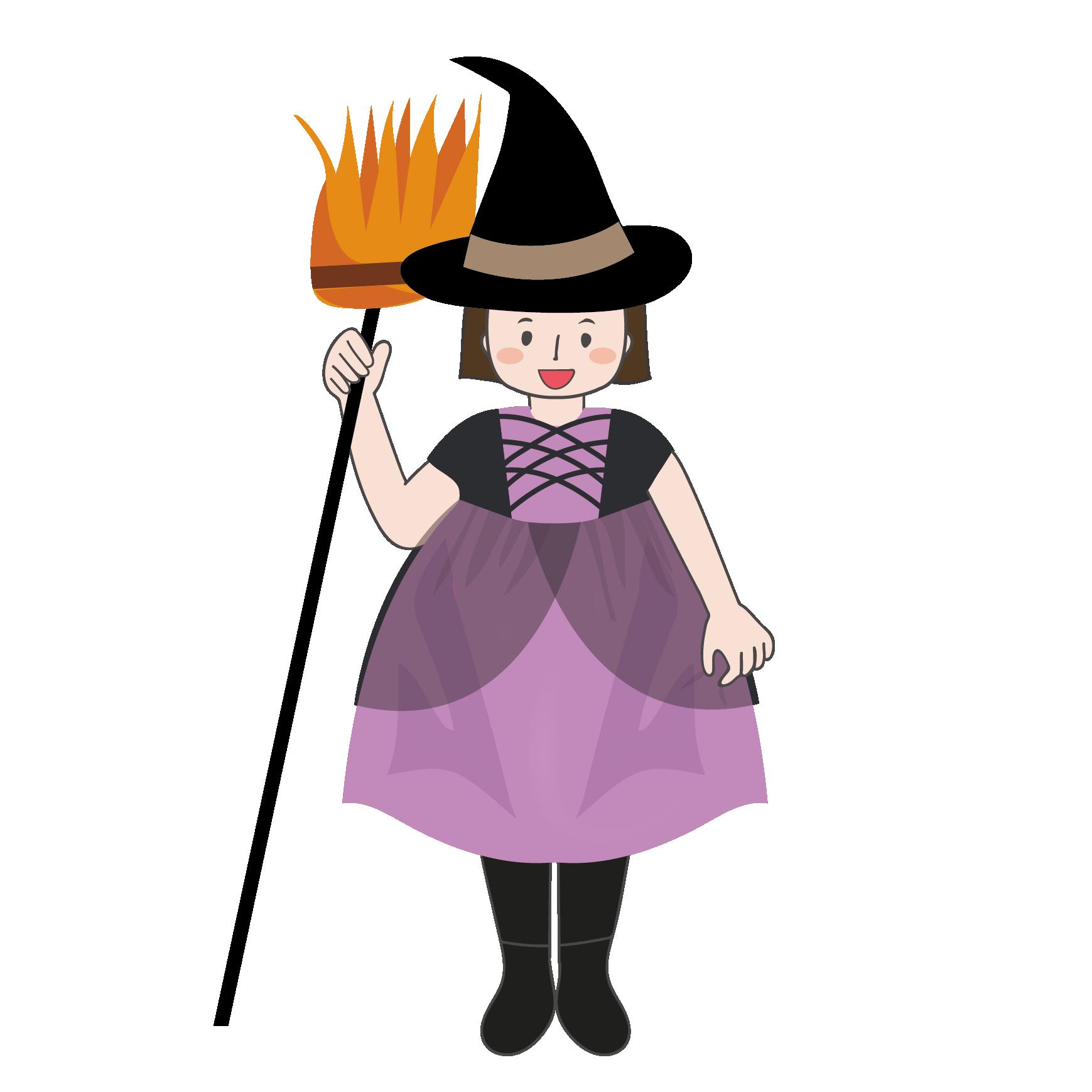 ハロウィン 魔女の仮装をした女の子の フリー イラスト 商用フリー