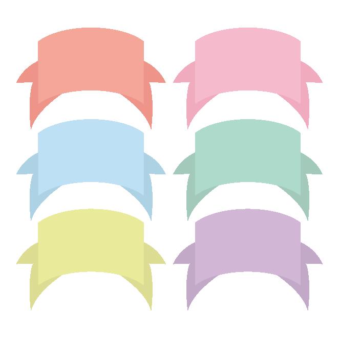 リボン風のネームプレート デザインフレームのイラスト 商用フリー