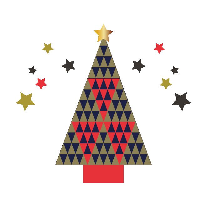 北欧風おしゃれなクリスマスツリーのイラスト 商用フリー無料の