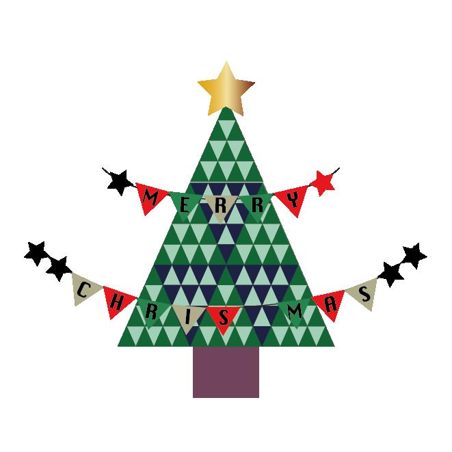 おしゃれなクリスマスツリーとガーランドの イラスト 商用フリー無料