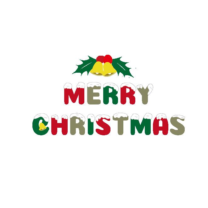 かわいいメリークリスマス英語の文字 ロゴのイラスト 商用
