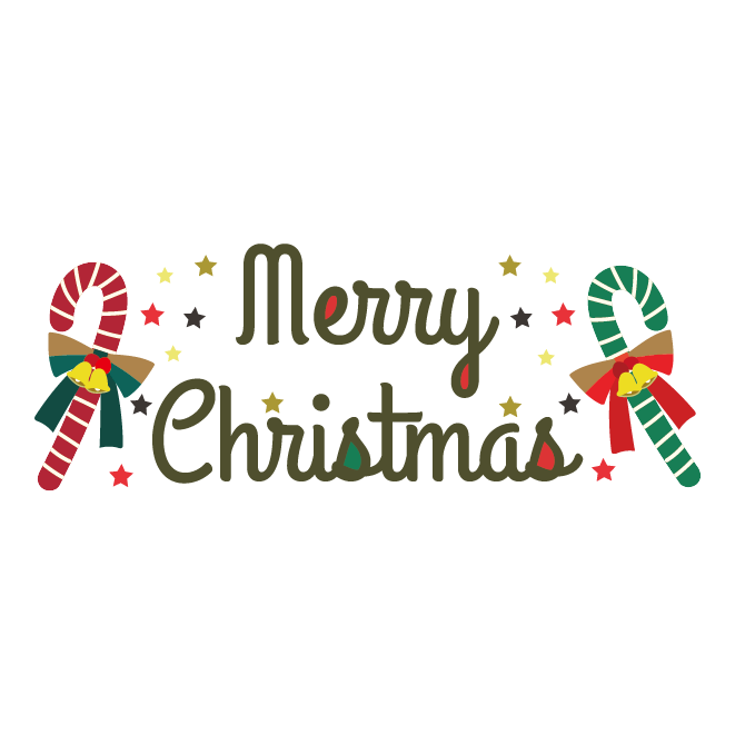 メリークリスマスオシャレな英語の筆記体文字ロゴイラスト 商用