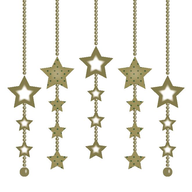 クリスマスの飾り星型ゴールド オーナメントイラスト 商用フリー