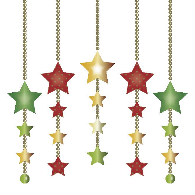 クリスマスの飾り星型カラフル オーナメント 無料 イラスト 商用