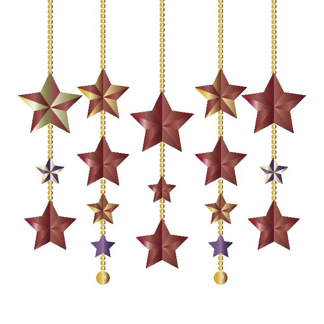 キラキラ華やかクリスマスの飾り星型オーナメントイラスト 商用