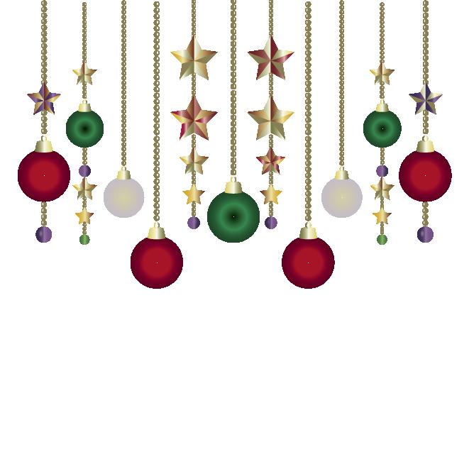 クリスマスの飾りボール型星型オーナメントイラスト 商用フリー