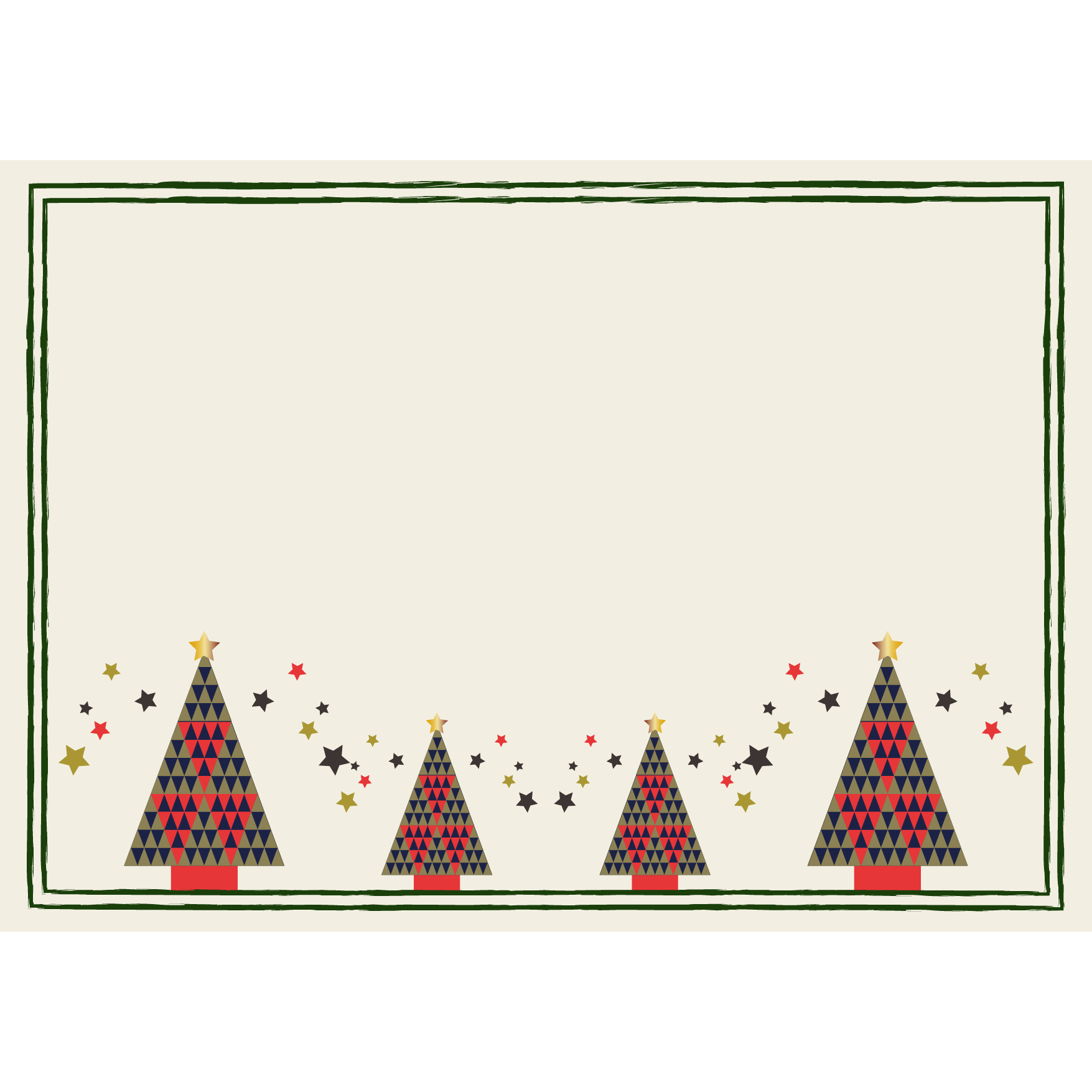 北欧風クリスマスツリーの枠フレーム A4サイズ イラスト 商用