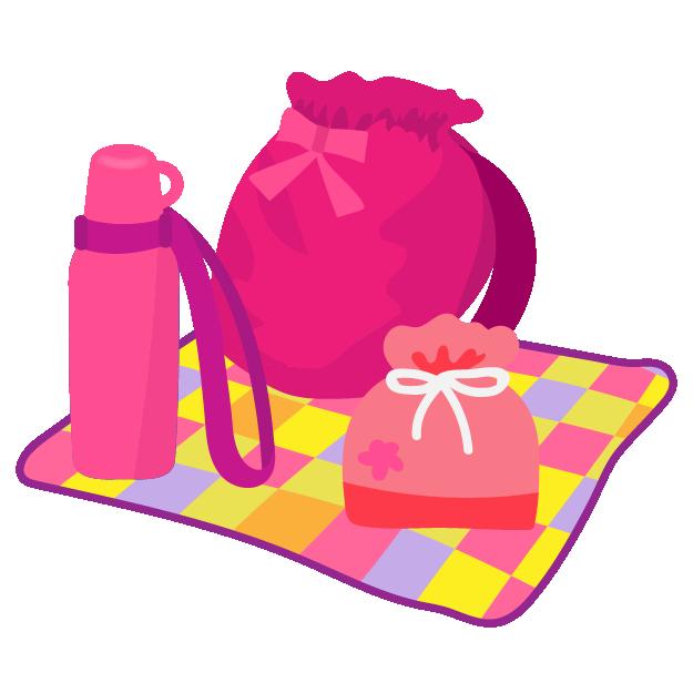 遠足の持ち物リュック水筒お弁当女の子 イラスト 商用フリー