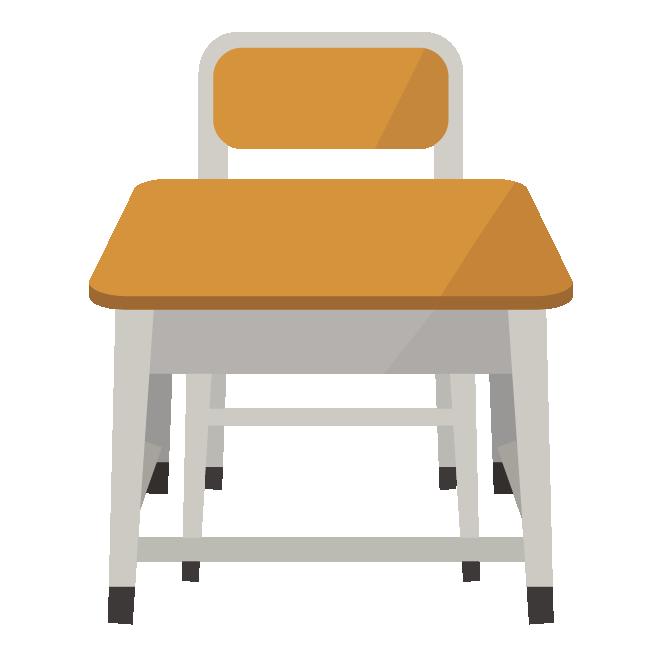 学校の机つくえデスクと椅子イスの イラスト 商用フリー