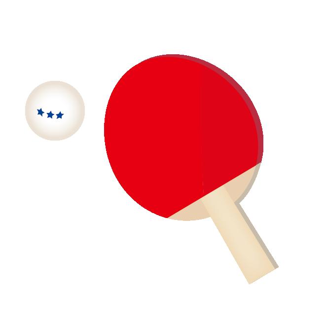 卓球赤色ラケットとボール フリー イラスト 商用フリー無料の