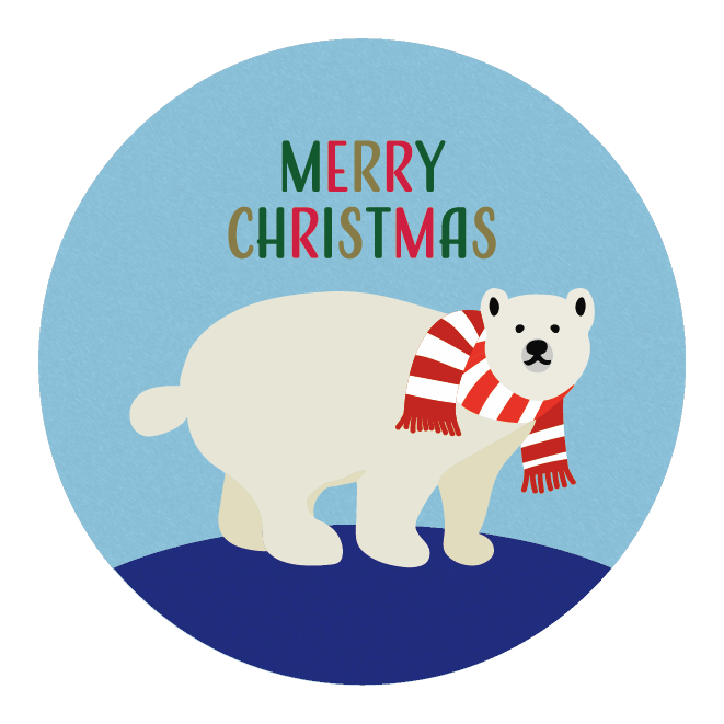 メリークリスマス文字 と シロクマ のワンポイント赤色 イラスト