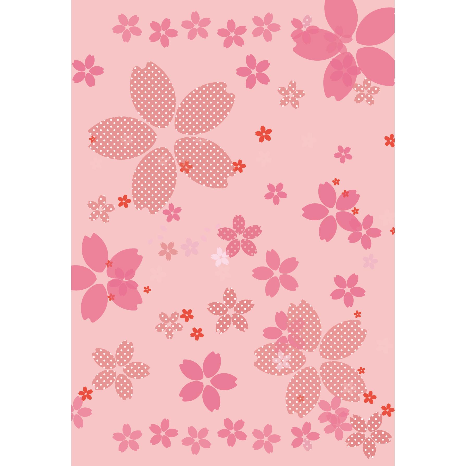 桜のイラストのかわいい 背景 A4サイズ イラスト 商用フリー無料の