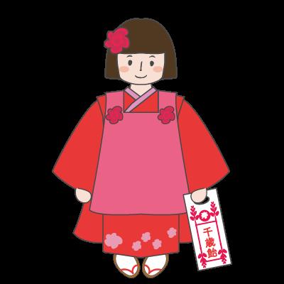 七五三の無料フリーイラスト 3歳の着物を着た女の子 商用フリー