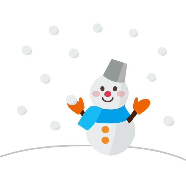 かわいい 雪の日の 雪だるまイラスト 商用フリー無料のイラスト