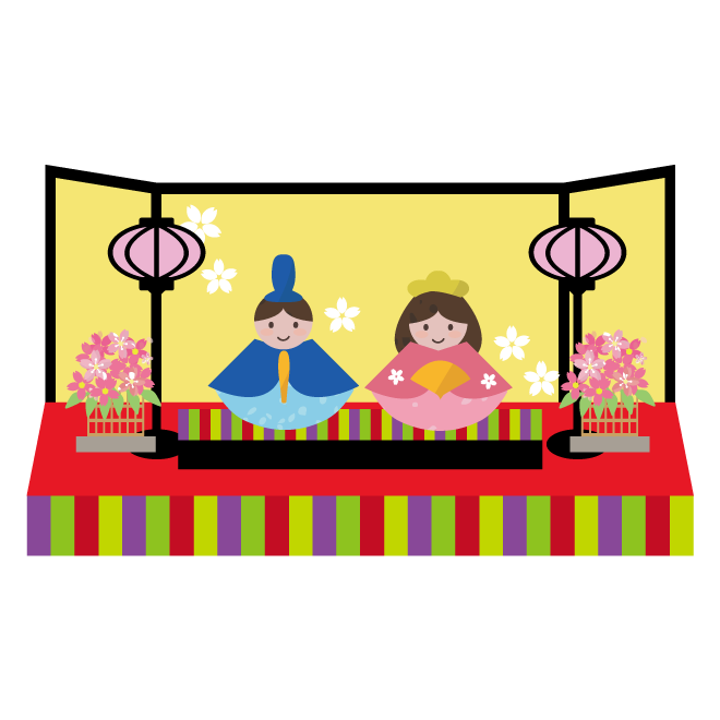 3月3日ひな祭りお内裏様とお雛様のイラスト 商用フリー