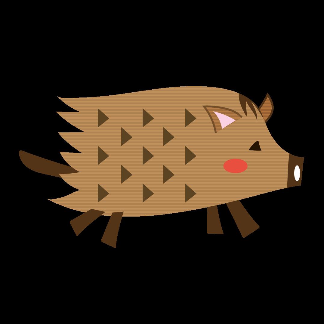かわいい手書き風 イノシシ亥猪のイラスト動物 商用フリー