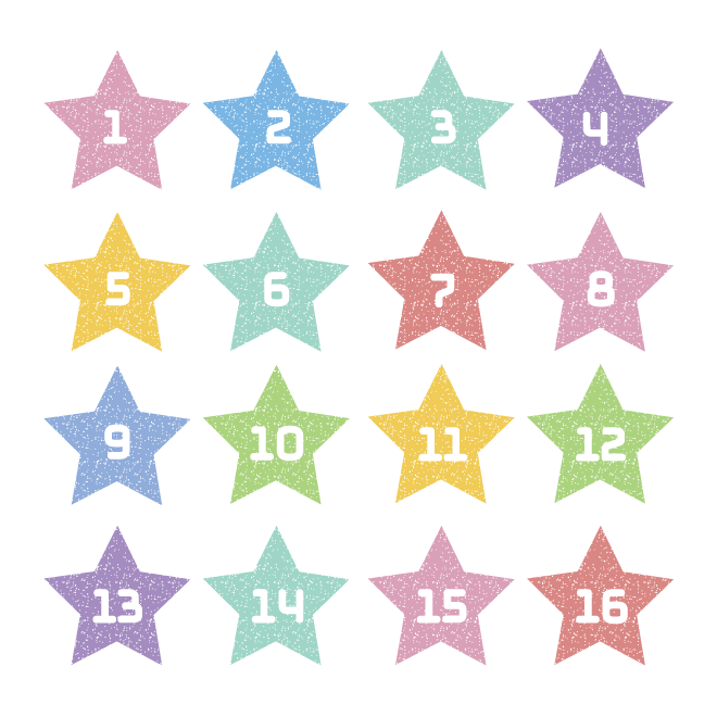 星型で おしゃれ数字ナンバースタンプパステルカラーイラスト
