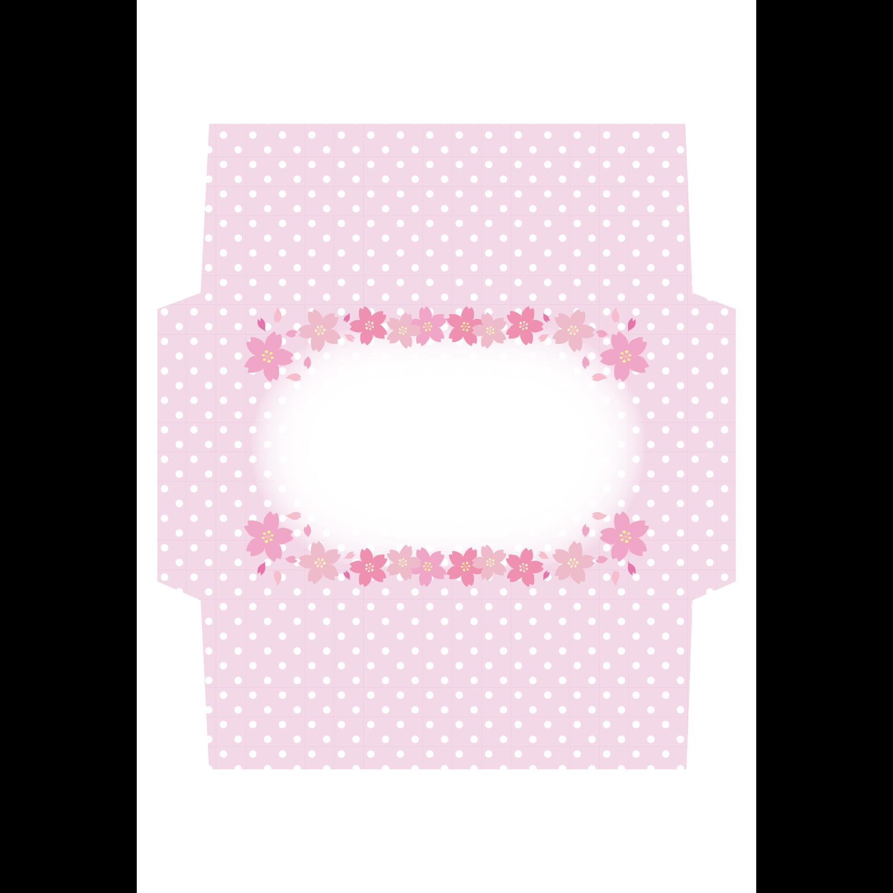 かわいい 桜の封筒 レターセットテンプレートイラスト 商用