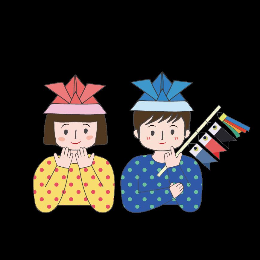 こどもの日兜カブトの折り紙帽子を被った子供の イラスト 商用