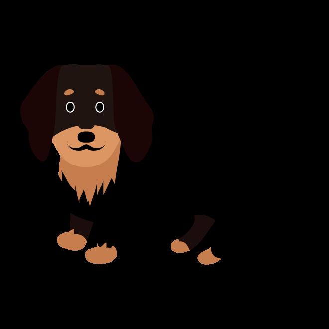 かわいい黒の ダックスフンド犬の無料イラスト 商用フリー無料