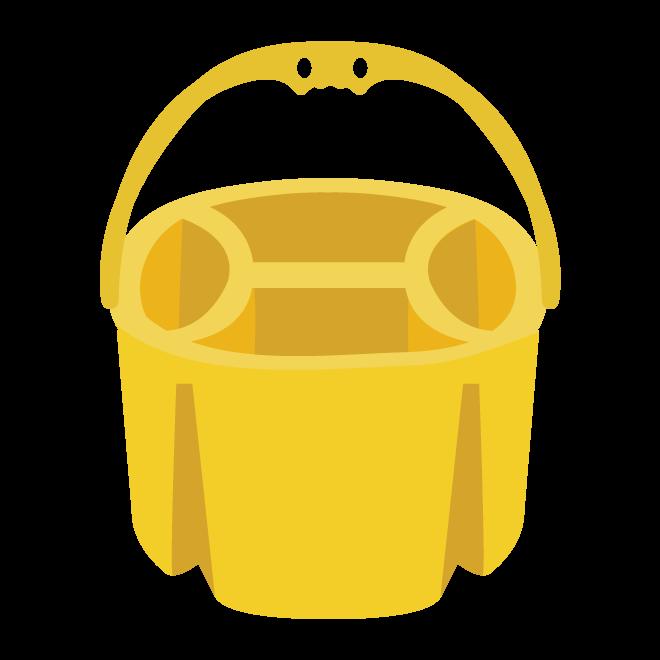 かわいい 黄色の 絵の具 の 筆洗いバケツ の イラスト 商用フリー
