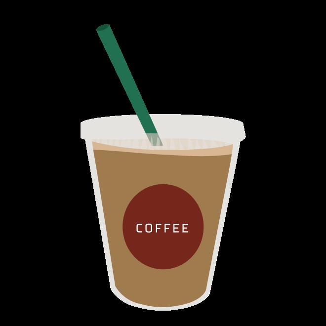 アイス コーヒーカフェラテカフェオレテイクアウト イラスト 商用