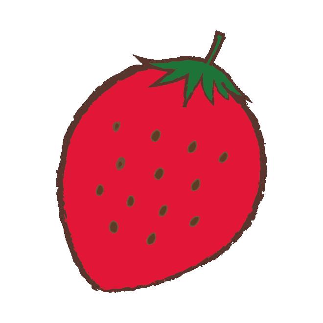 手書きかわいい いちご苺のイラスト 商用フリー無料