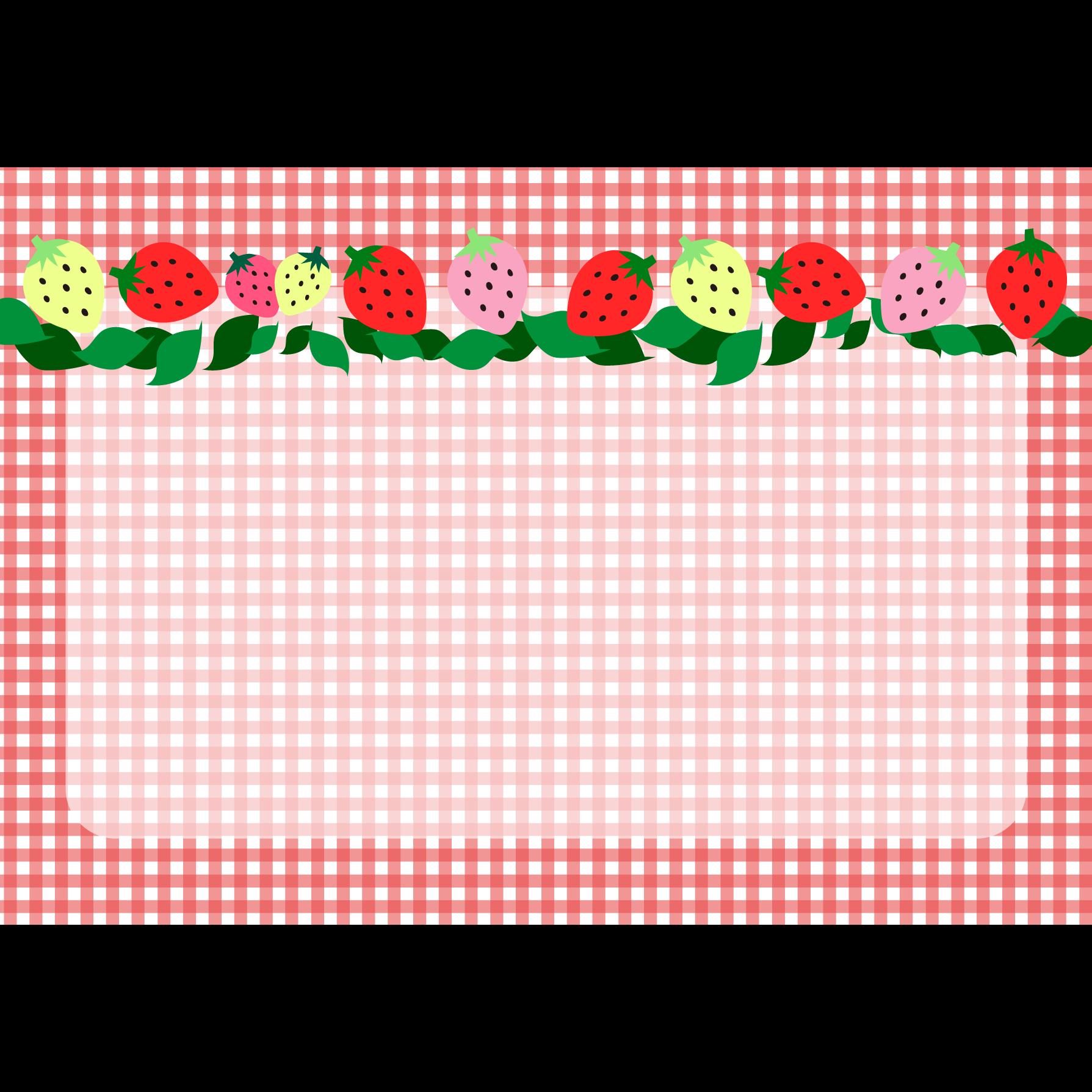 かわいい!いちご(苺)と チェック の背景 フリー (a4)イラスト | 商用