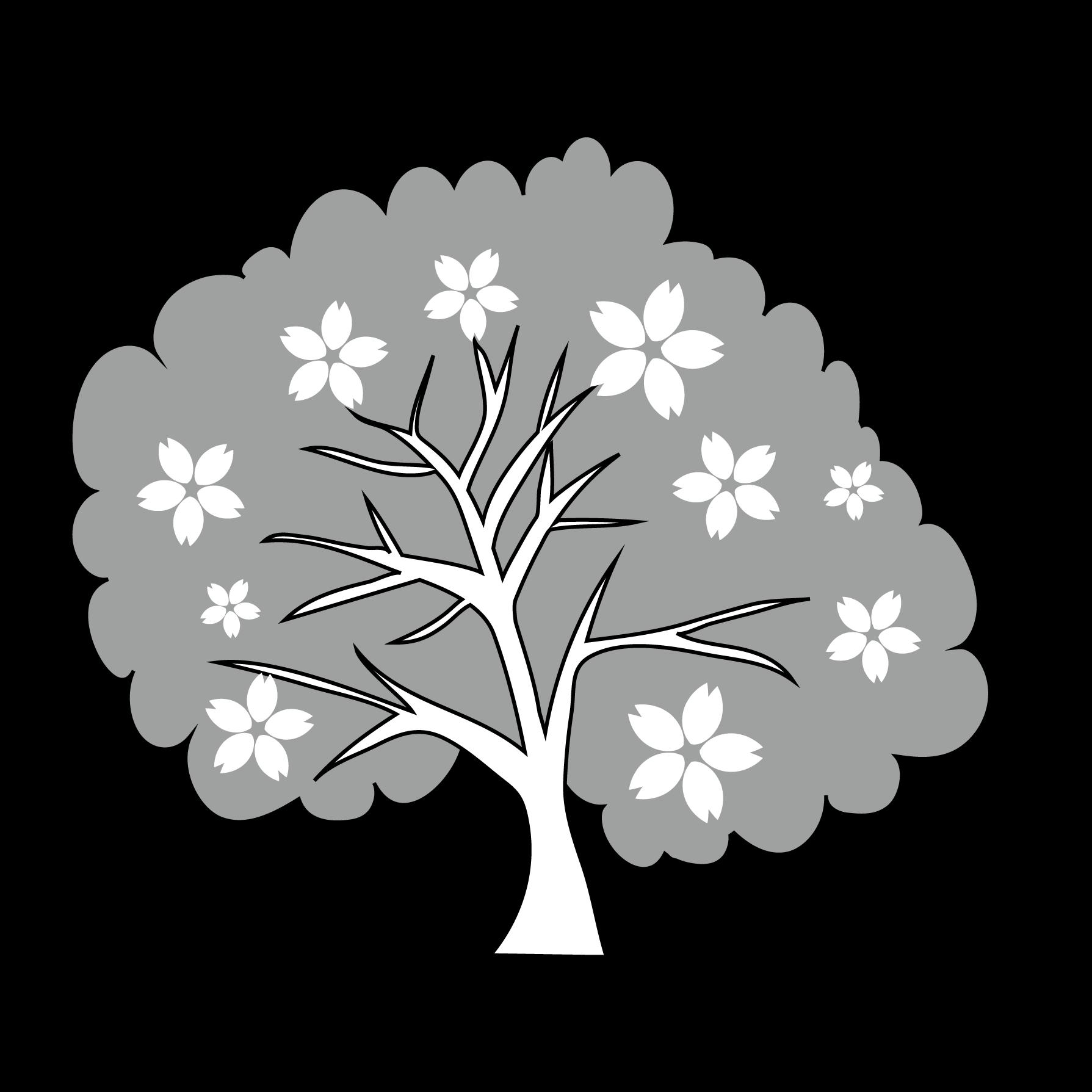 春 イラストかわいい 桜 の木の 白黒 フリー イラスト 商用フリー