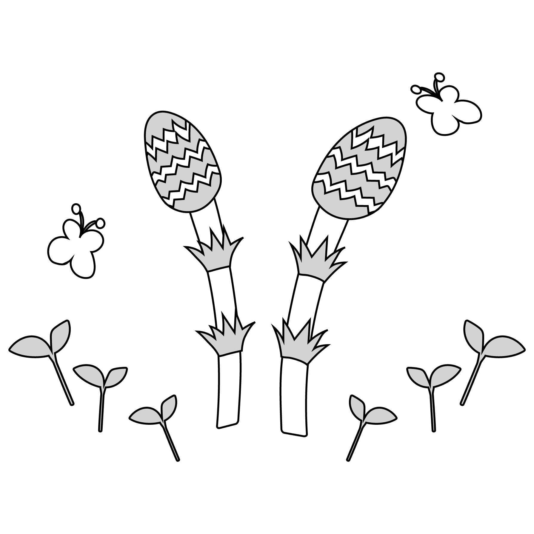 春 イラストかわいいつくしの 白黒 無料 イラスト 商用フリー無料