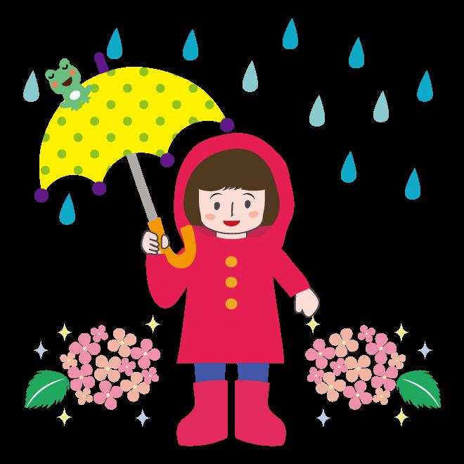 梅雨イラスト かわいい 女の子 のフリー イラスト 商用フリー無料