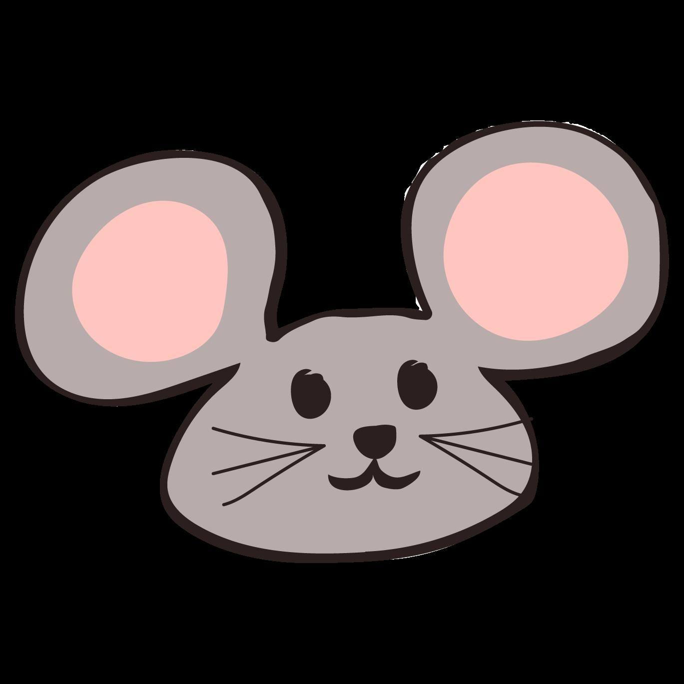 おしゃれ かわいいネズミ鼠ねずみ顔フリー イラスト