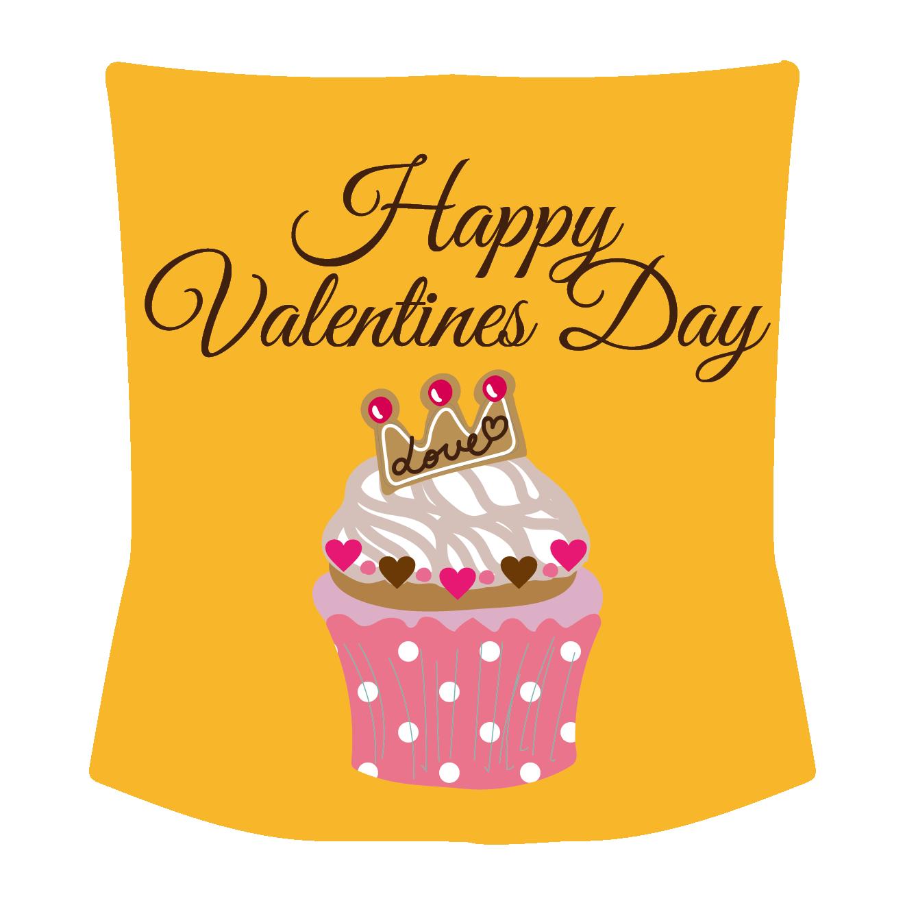 バレンタインデー ハートのカップケーキイラスト | 商用フリー(無料)の