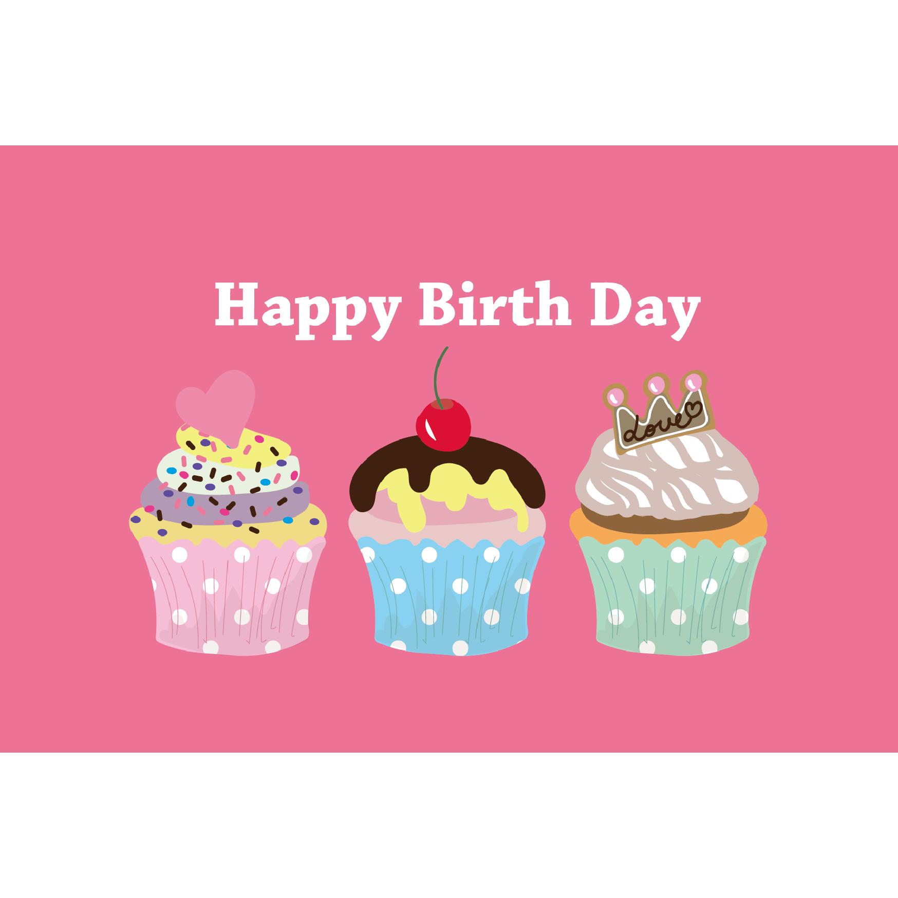 誕生日カップケーキのグリーティングカードイラスト | 商用フリー(無料