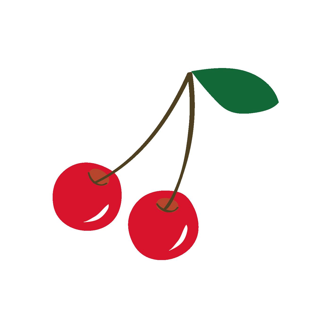 さくらんぼ(サクランボ・チェリー)のイラスト【フルーツ・果物