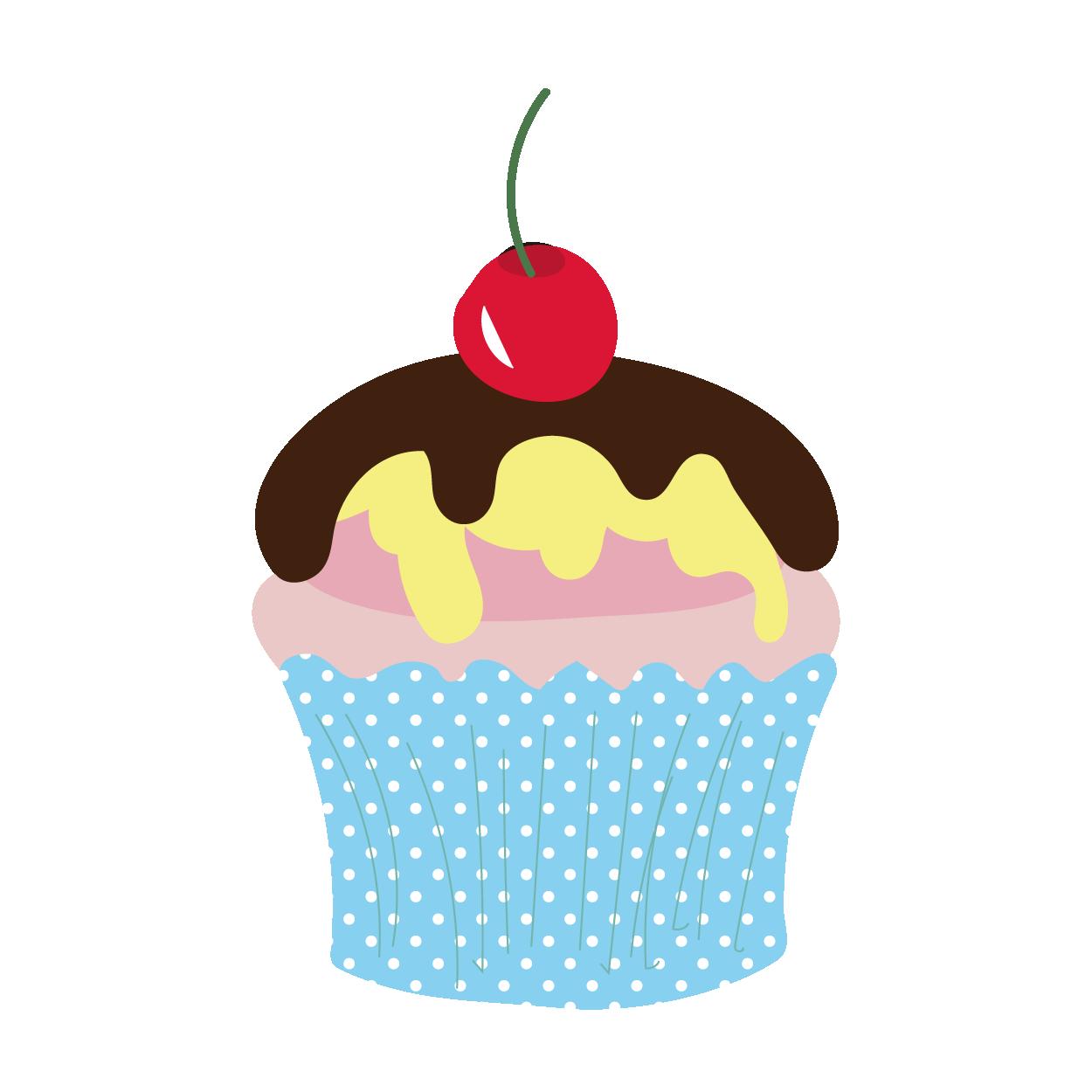 サクランボとチョコのカップケーキ【スイーツ・お菓子】 | 商用フリー