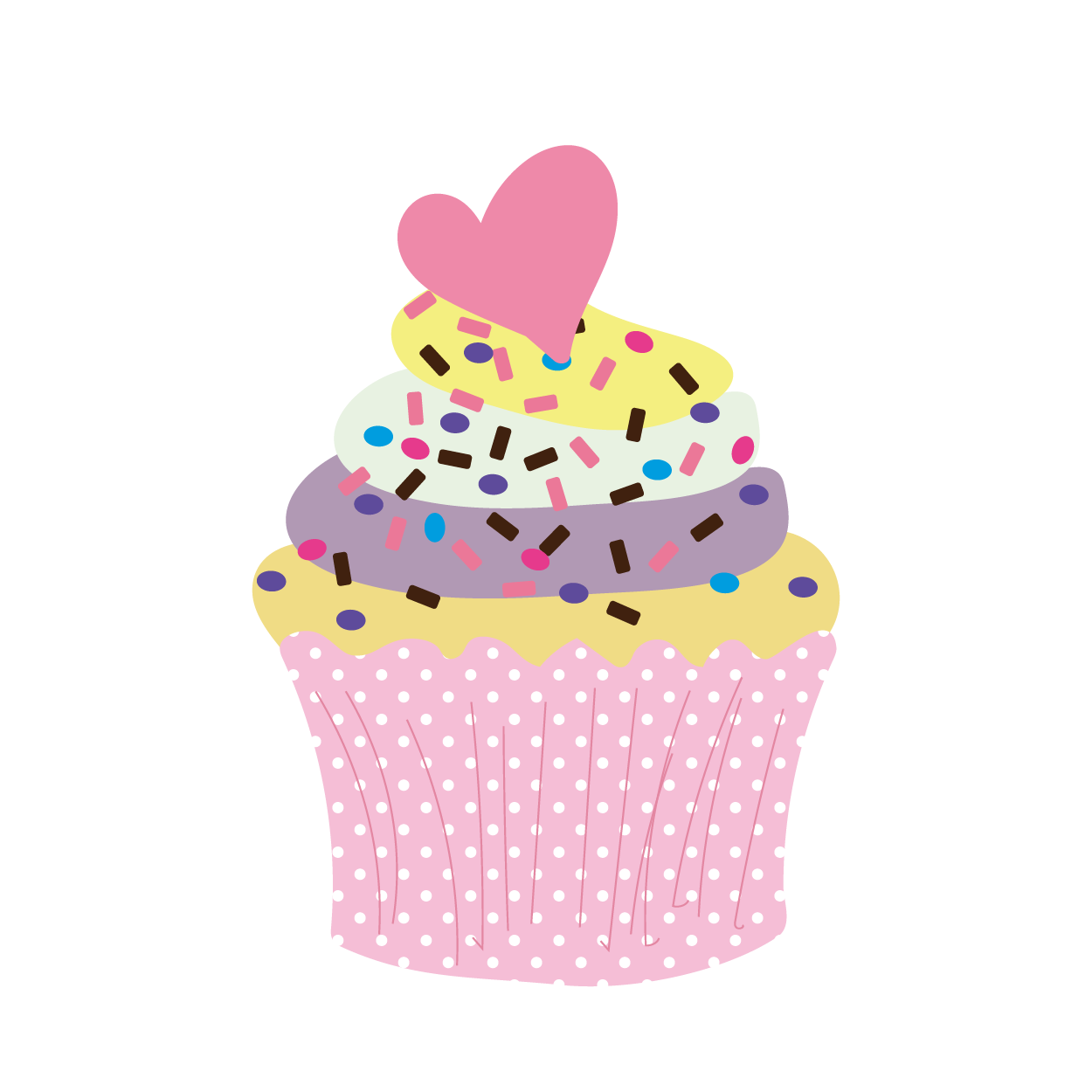 ハートとチョコスプレーのカップケーキ イラストスイーツお菓子