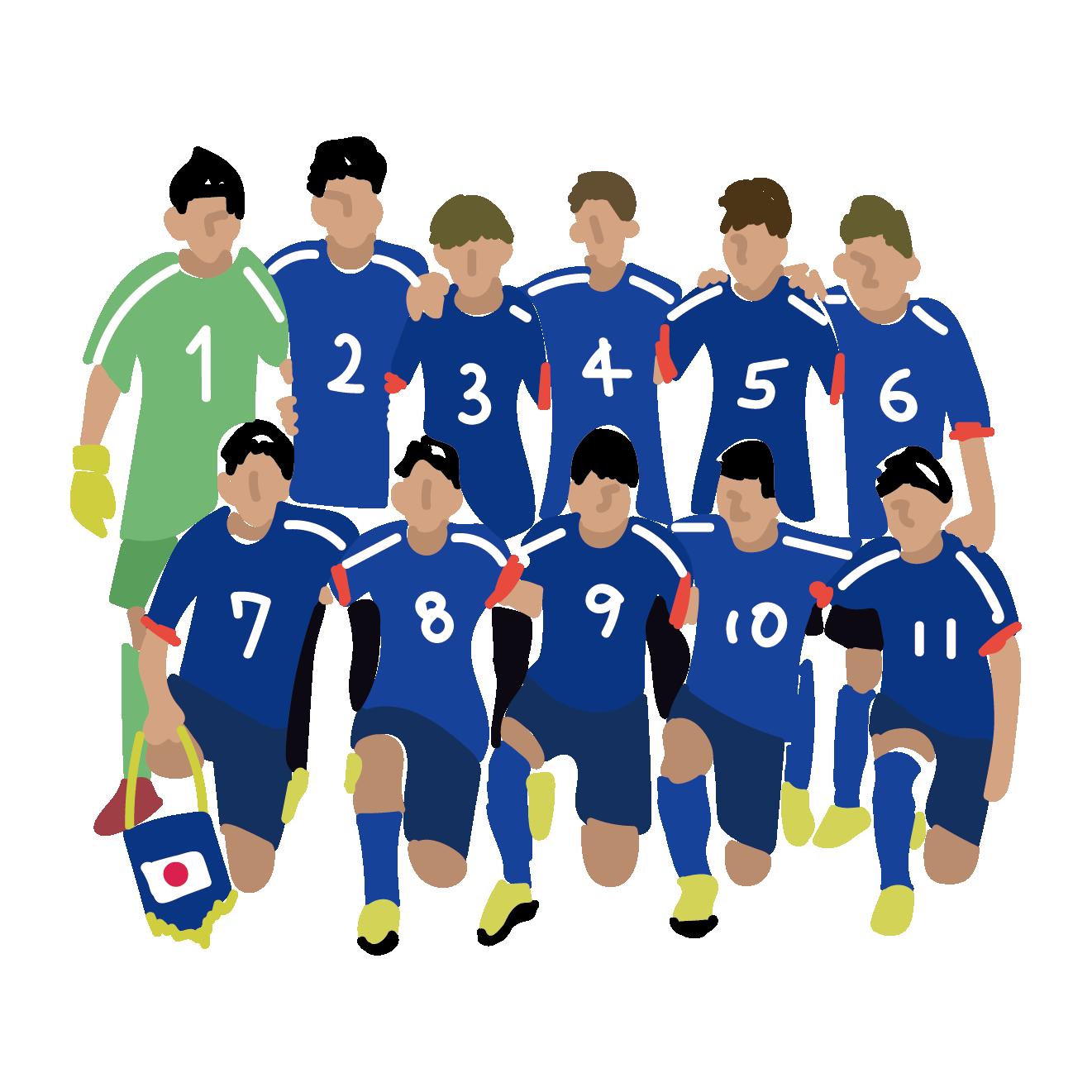 サッカー日本代表の 無料 イラストスポーツ話題 商用フリー無料