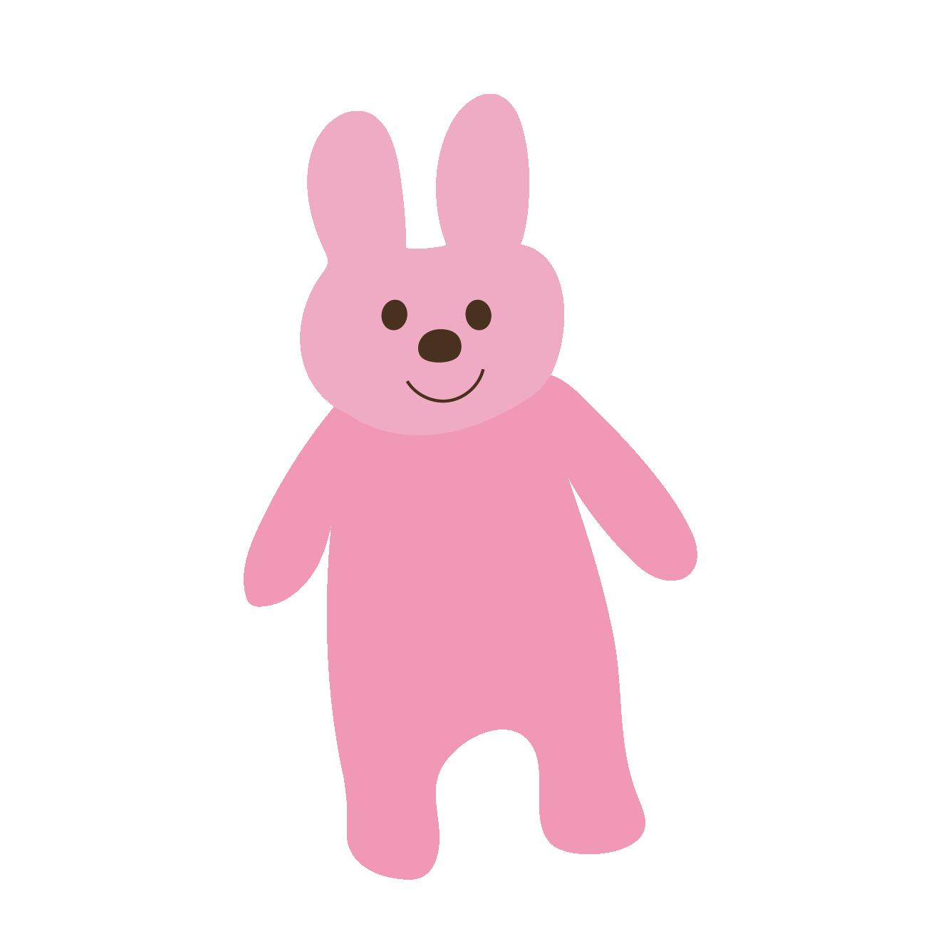立っているうさぎ(ウサギ)ニコニコイラスト【動物】 | 商用フリー
