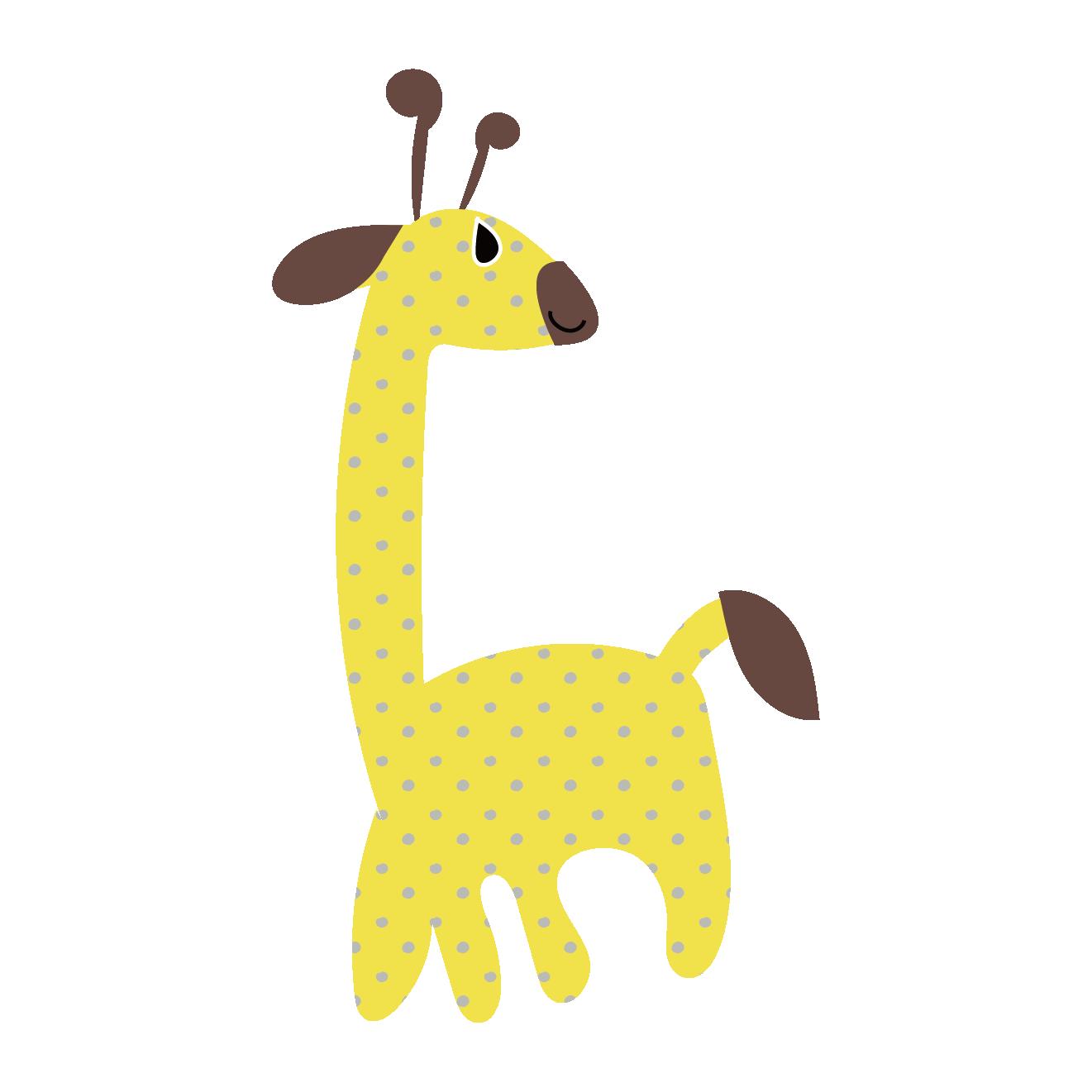 ドット模様がかわいい麒麟(キリン・きりん)のハッピーイラスト【動物