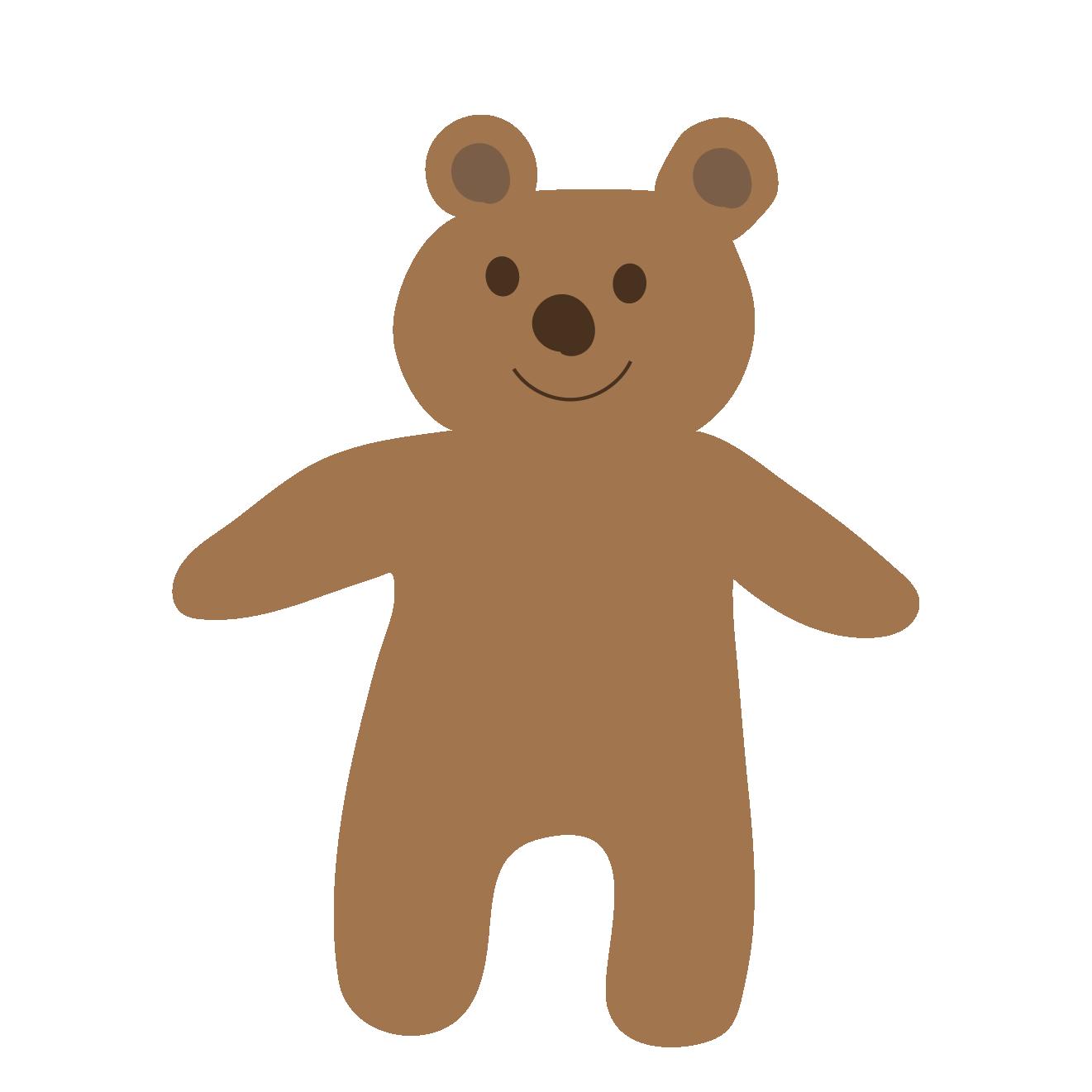 立っている熊(くま・クマ・テディベア)ニコニコイラスト【動物