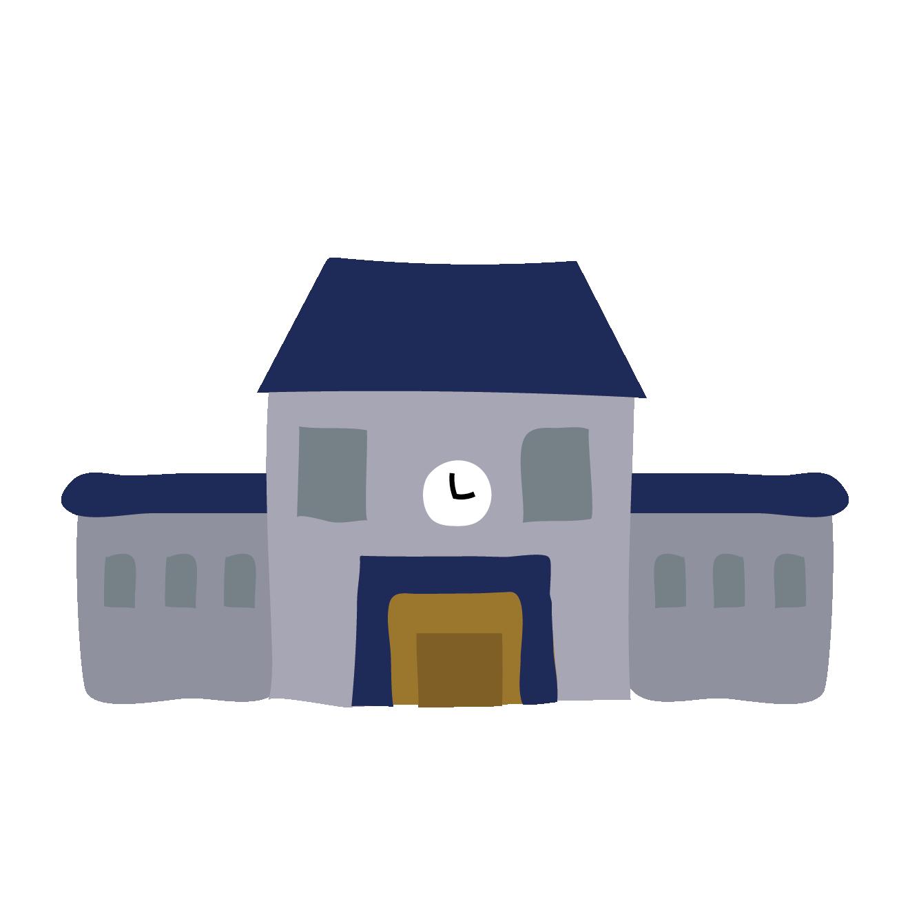 青い屋根の学校(スクール・校舎)のイラスト | 商用フリー(無料)の