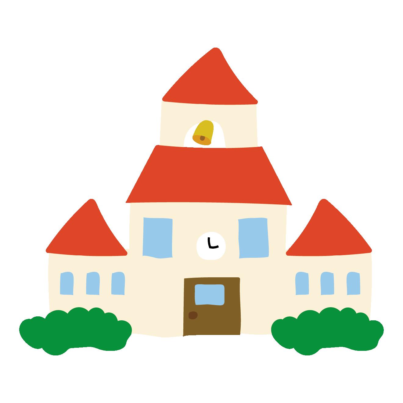 赤い屋根の学校(スクール・校舎)のイラスト | 商用フリー(無料)の
