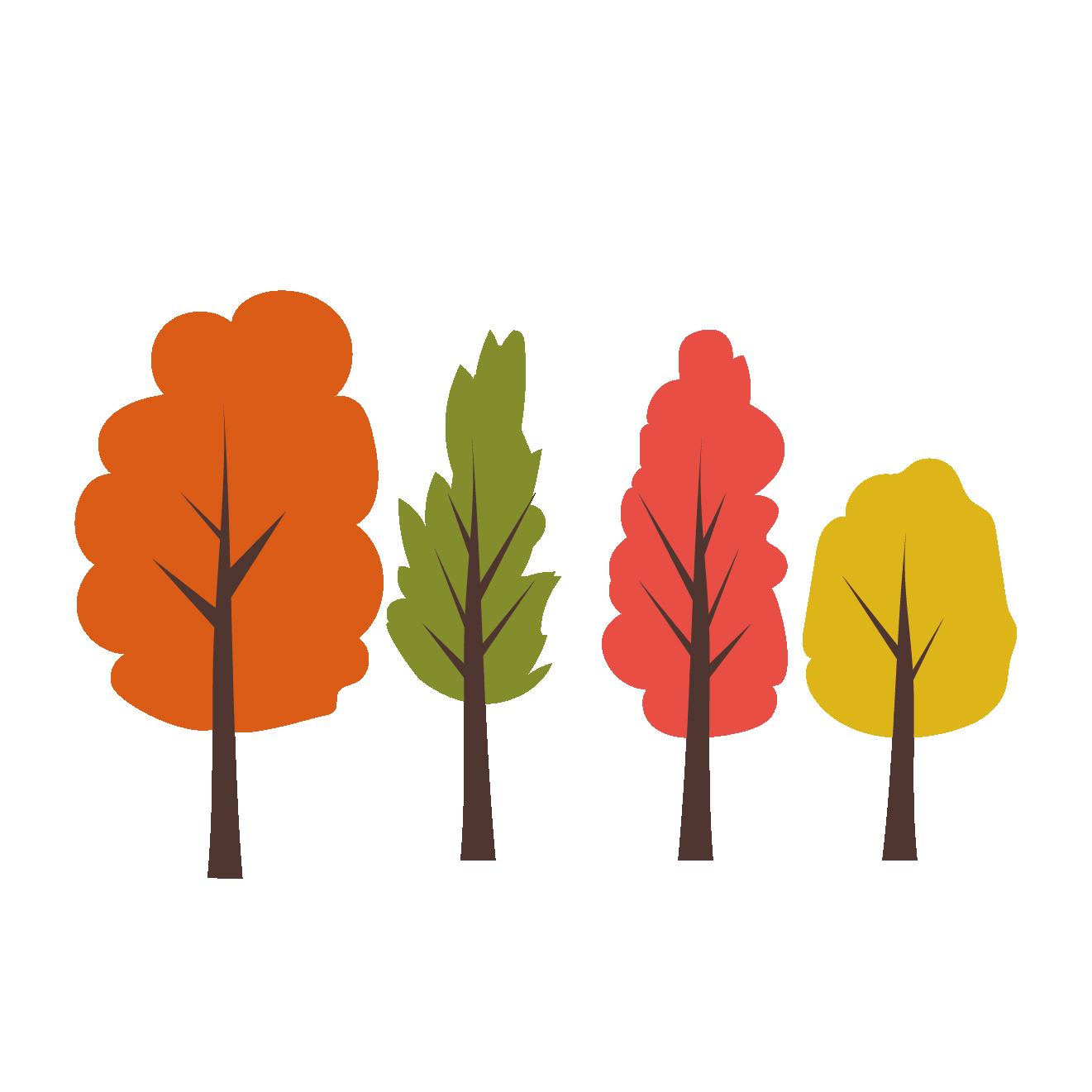 紅葉している 木 の かわいい無料 イラスト植物グリーン秋