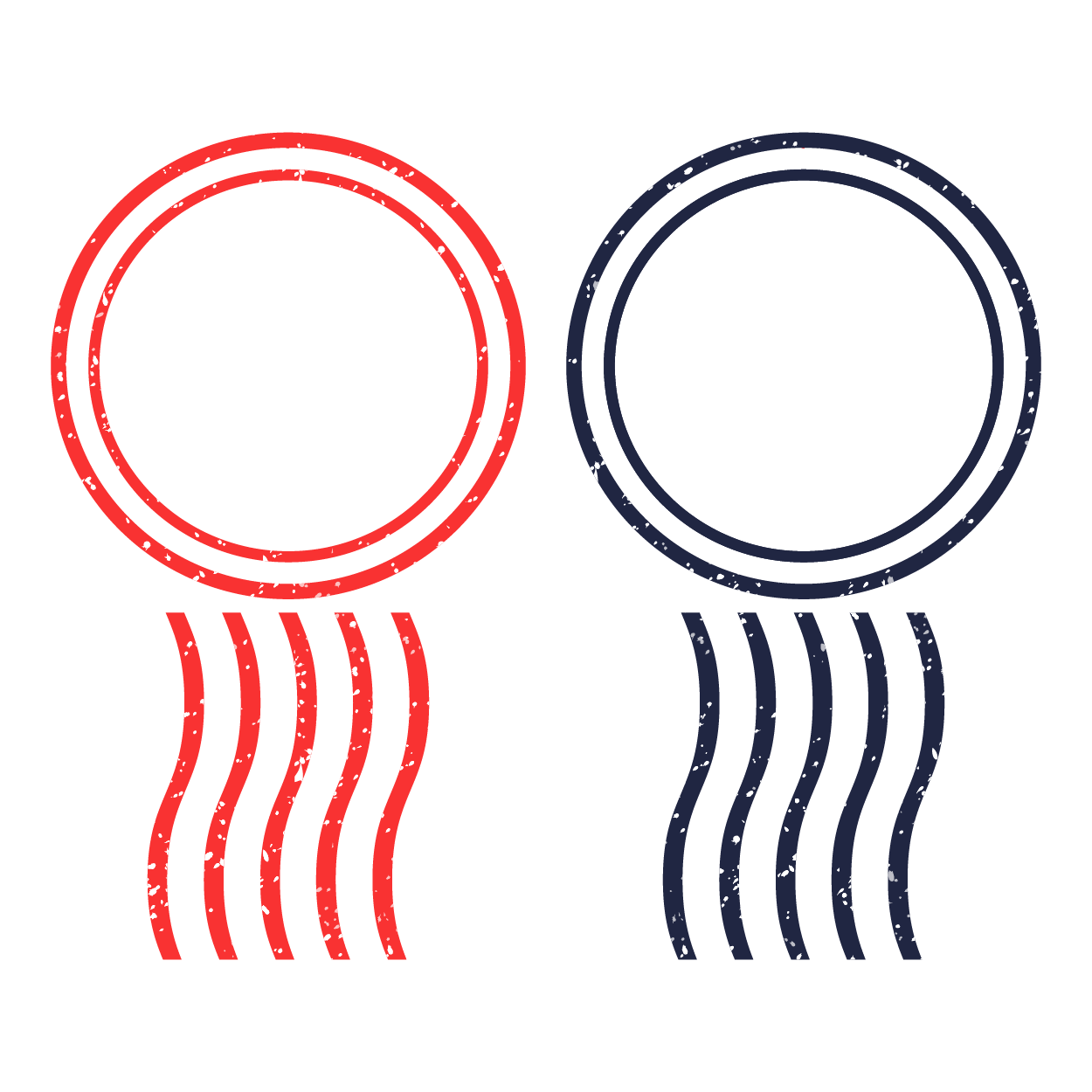 赤と青の郵便スタンプ風 イラスト | 商用フリー(無料)のイラスト素材