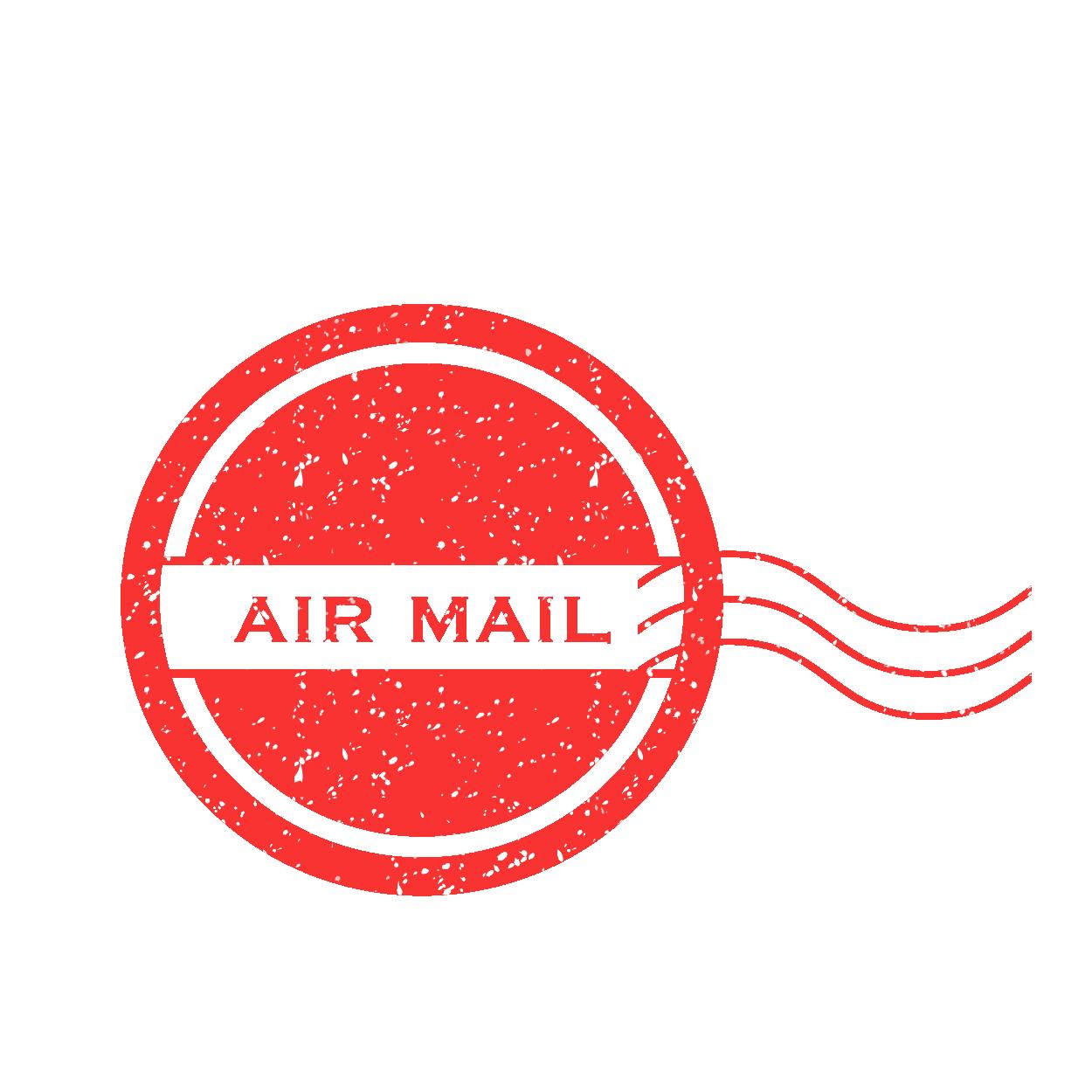 海外郵便用 赤のair mail(エアメール)スタンプのイラスト | 商用